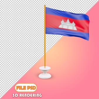 Drapeau 3d du cambodge