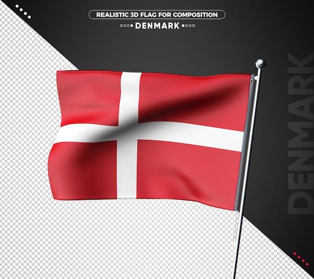 Drapeau 3d du danemark avec une texture réaliste