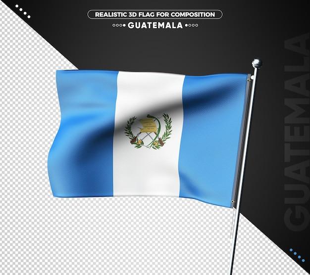 Drapeau 3d du guatemala avec une texture réaliste