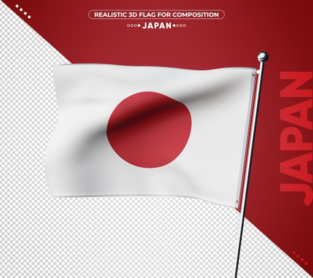 Drapeau 3d du japon avec une texture réaliste