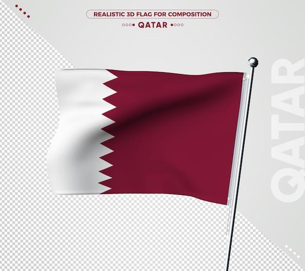 Drapeau 3d du qatar avec texture réaliste