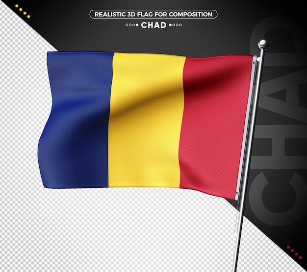 Drapeau 3d du tchad avec une texture réaliste