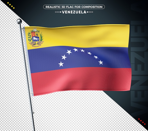 Drapeau 3d du venezuela avec texture réaliste