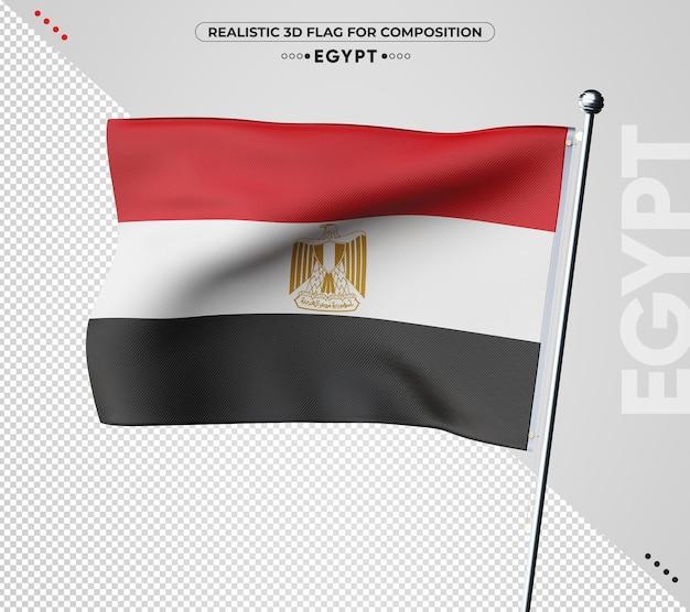 Drapeau 3d egypte avec texture réaliste