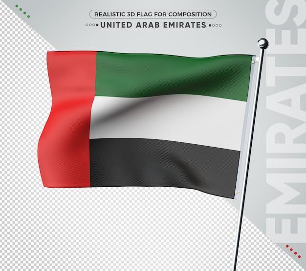 Drapeau 3d des émirats arabes unis avec texture réaliste