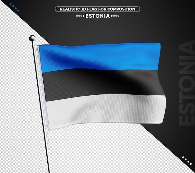 Drapeau 3d de l'estonie avec texture réaliste