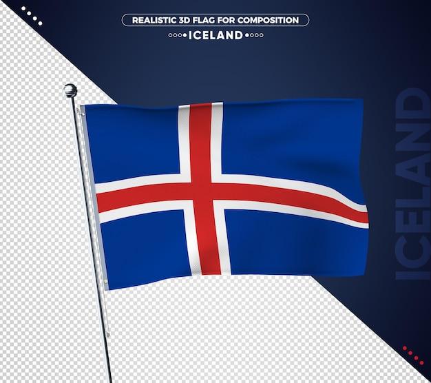 Drapeau 3d d'islande avec texture réaliste