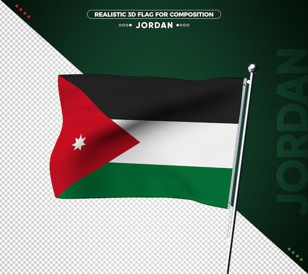 Drapeau 3d de jordanie avec texture réaliste