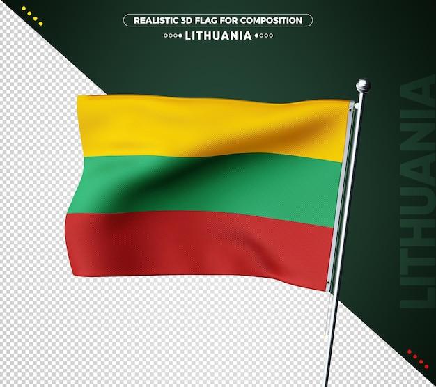 Drapeau 3d de lituanie avec texture réaliste