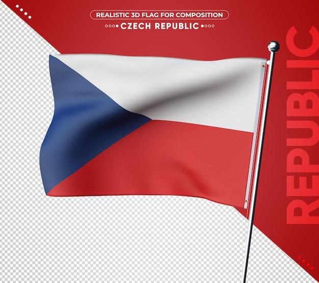 Drapeau 3d de la république tchèque avec une texture réaliste