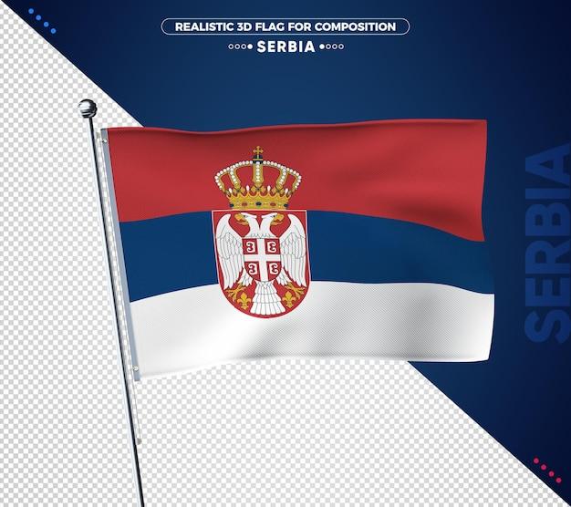 Drapeau 3d de serbie avec texture réaliste
