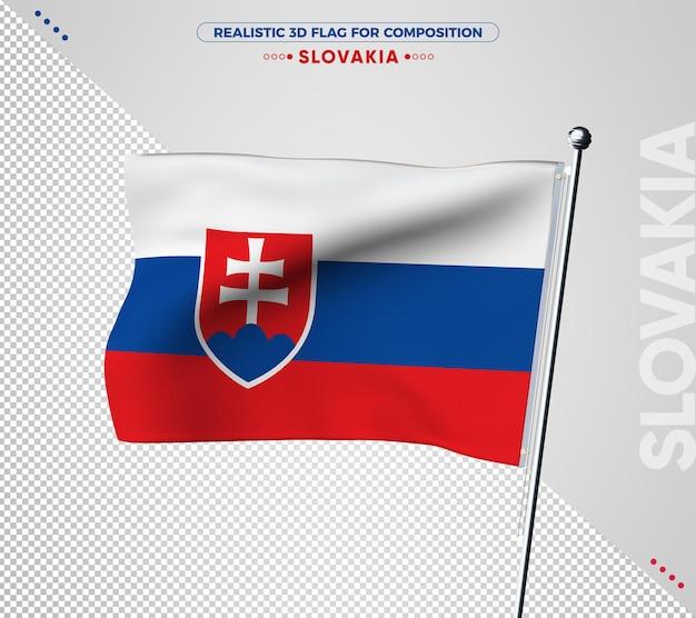 Drapeau 3d de slovaquie avec texture réaliste
