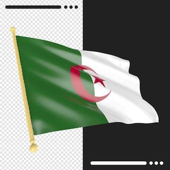 Drapeau de l'algérie rendu 3d isolé