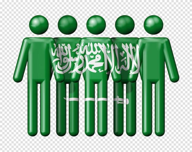 Drapeau de l'arabie saoudite sur stick figure symbole de la communauté nationale et sociale 3d