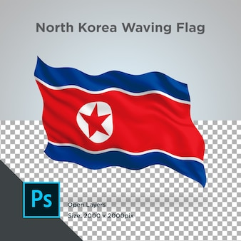 Drapeau de la corée du nord wave design transparent