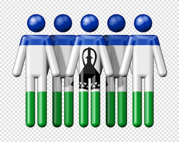 Drapeau du lesotho sur le symbole 3d de la communauté nationale et sociale de bonhomme allumette