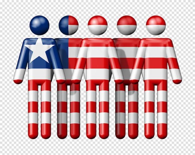 Drapeau du libéria sur stick figure symbole 3d de la communauté nationale et sociale