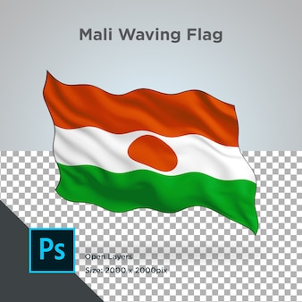 Drapeau du mali wave design transparent