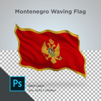 Drapeau du monténégro wave design transparent