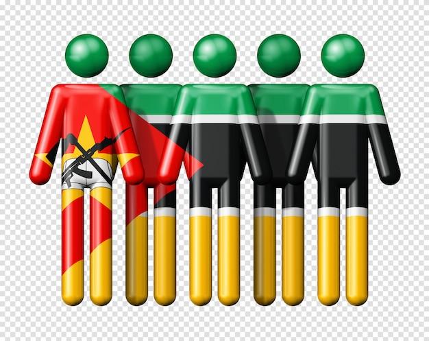 Drapeau du mozambique sur des chiffres de bâton