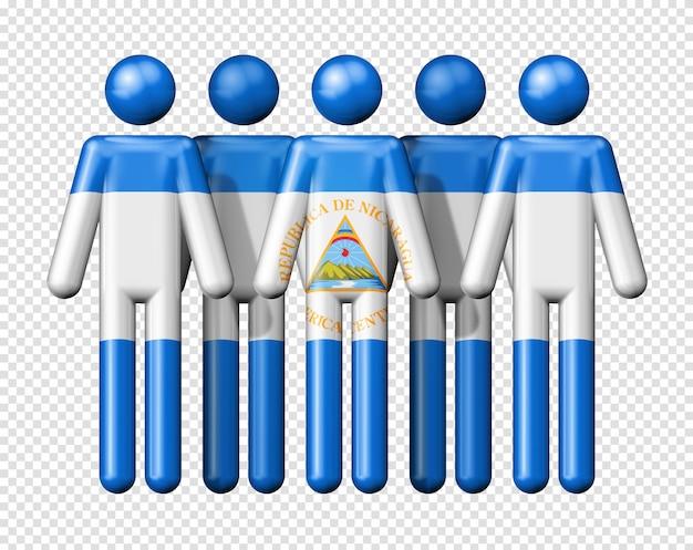 Drapeau du nicaragua sur des chiffres de bâton