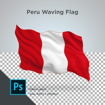 Drapeau du pérou wave design transparent