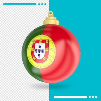 Drapeau du portugal de noël rendu 3d isolé