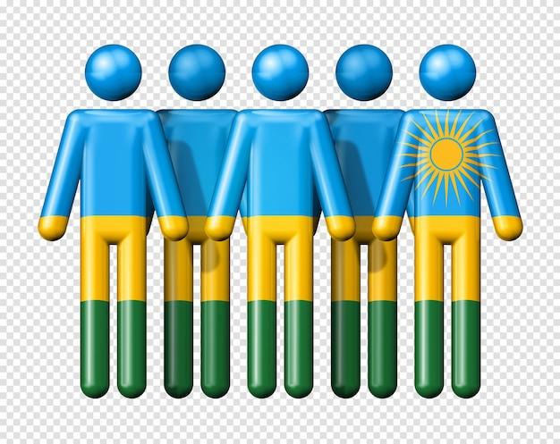 Drapeau du rwanda sur le symbole 3d de la communauté nationale et sociale de bonhomme allumette