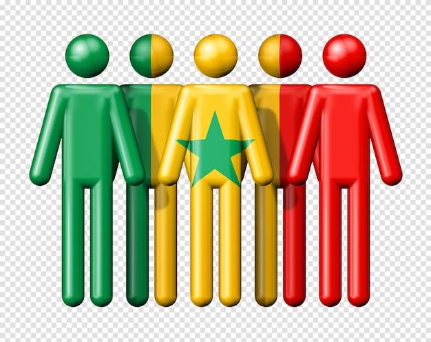 Drapeau du sénégal sur le symbole 3d de la communauté nationale et sociale de bonhomme allumette