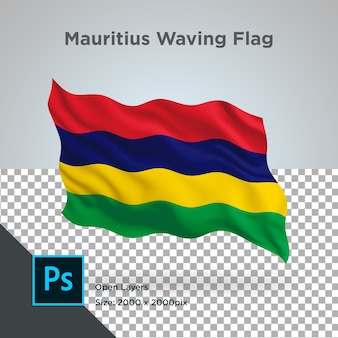 Drapeau de l'ile maurice wave design transparent