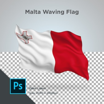 Drapeau de malte wave design transparent