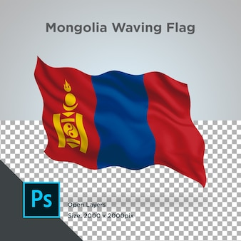Drapeau de la mongolie wave design transparent