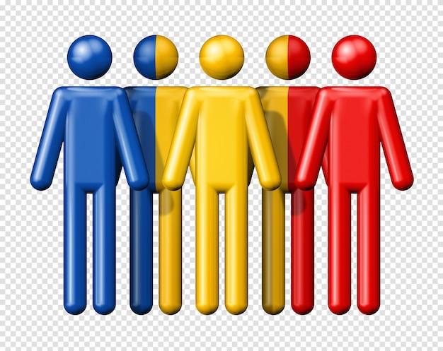 Drapeau de la roumanie sur le symbole 3d de la communauté nationale et sociale de bonhomme allumette