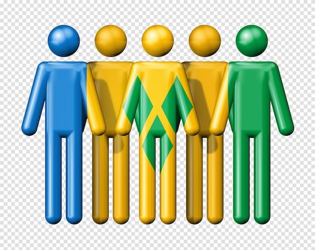 Drapeau de saint-vincent-et-les grenadines sur stick figure symbole de la communauté nationale et sociale 3d