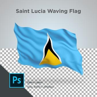 Drapeau de sainte-lucie wave design transparent