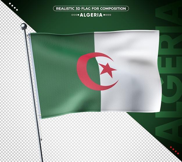 Drapeau texturé 3d algérie pour la composition