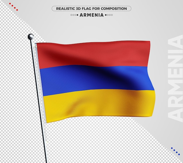 Drapeau texturé 3d de l'arménie pour la composition