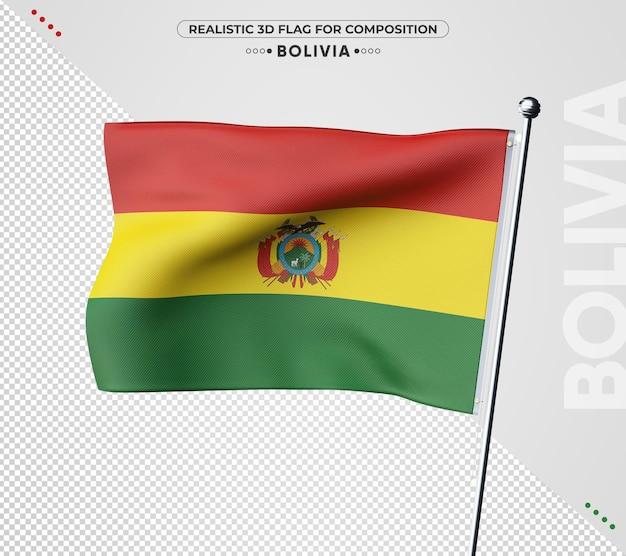 Drapeau texturé 3d de la bolivie pour la composition
