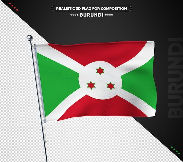 Drapeau texturé 3d du burundi pour la composition