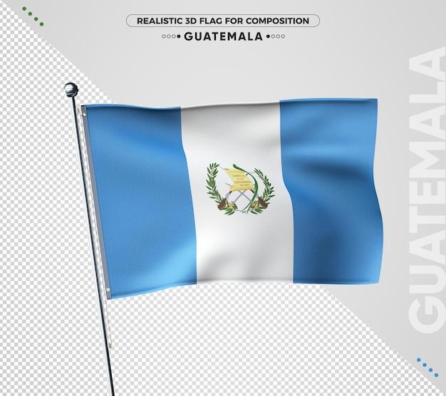 Drapeau texturé 3d du guatemala pour la composition