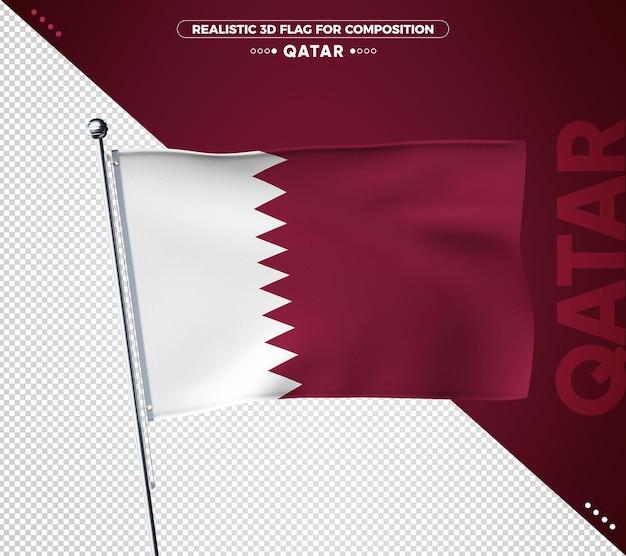 Drapeau texturé 3d du qatar pour la composition