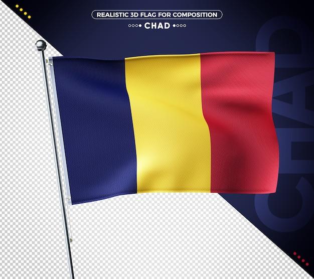 Drapeau texturé 3d du tchad pour la composition
