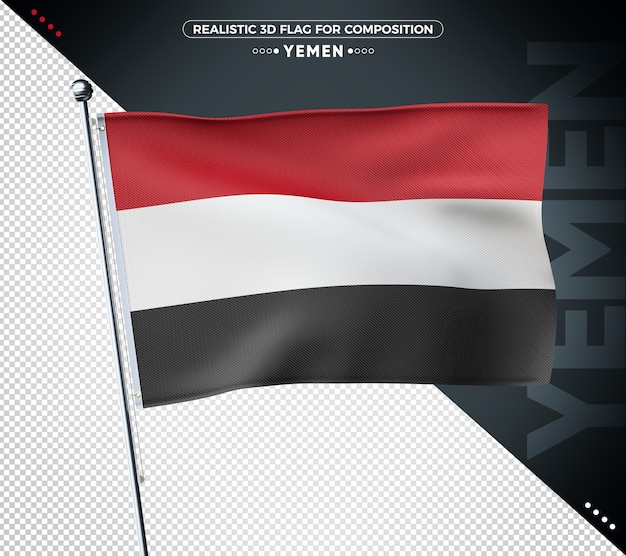 Drapeau texturé 3d du yémen pour la composition