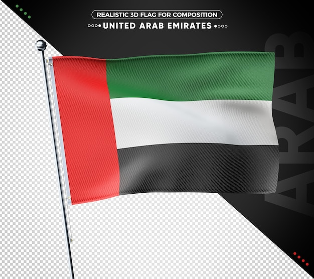 Drapeau texturé 3d des émirats arabes unis pour la composition