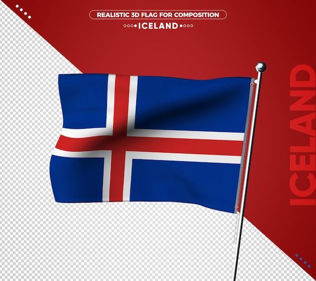Drapeau texturé 3d islande pour la composition