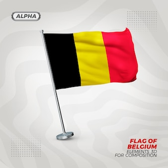 Drapeau texturé 3d réaliste de belgique pour la composition