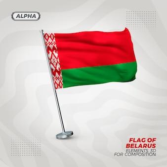 Drapeau texturé 3d réaliste de biélorussie pour la composition