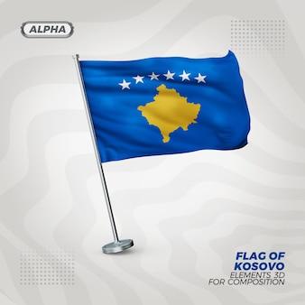 Drapeau texturé 3d réaliste du kosovo pour la composition