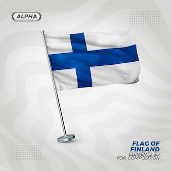 Drapeau texturé 3d réaliste de finlande pour la composition