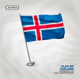 Drapeau texturé 3d réaliste d'islande pour la composition